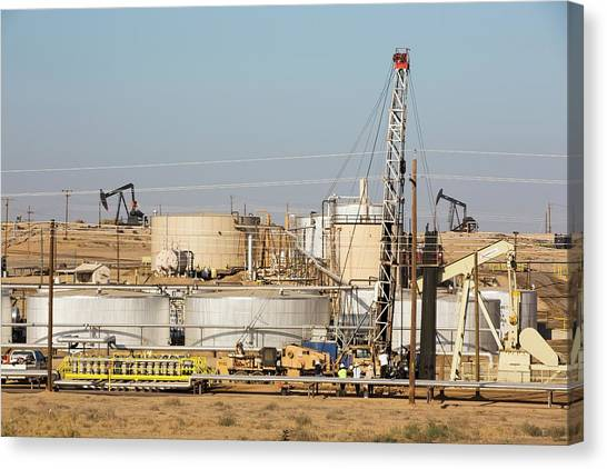 Fracking Canvas Print - Drilling For Oil by Ashley Cooper