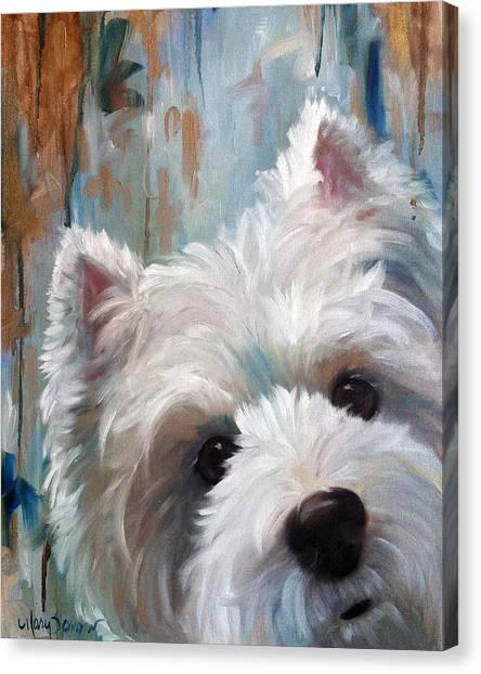 Terrier Canvas Print - Drip by Mary Sparrow