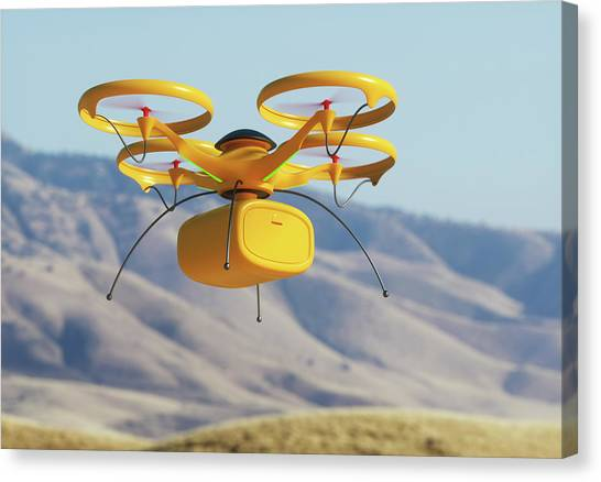 Drone In Transit Canvas Print by Ktsdesign/science Photo Library