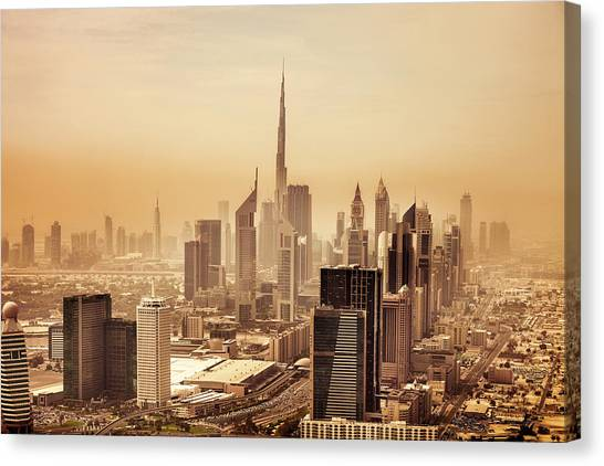Dubai Downtown Skyscrapers And Office Canvas Print by Leopatrizi
