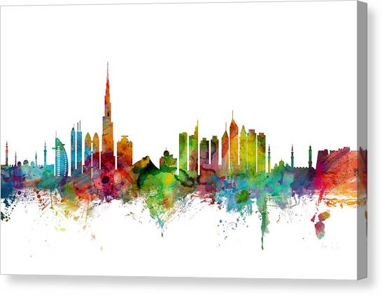 Dubai Skyline Canvas Print - Dubai Skyline by Michael Tompsett