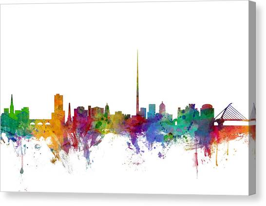 Ireland Canvas Print - Dublin Ireland Skyline by Michael Tompsett