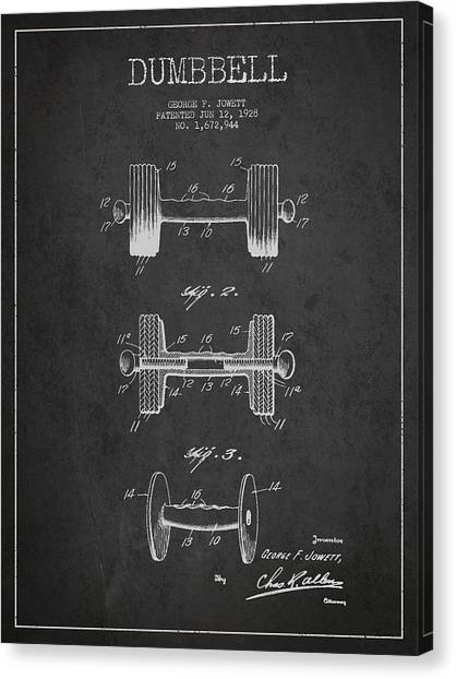 Weights Canvas Print - Dumbbell Patent Drawing From 1927 by Aged Pixel