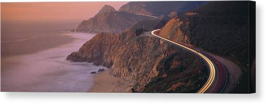 Roadway Canvas Print - Dusk Highway 1 Pacific Coast Ca Usa by Panoramic Images