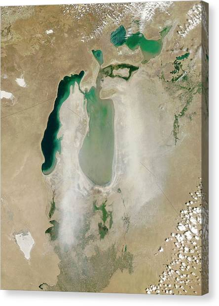June Lake Canvas Print - Dust Storm Over The Aral Sea by Nasa/jeff Schmaltz