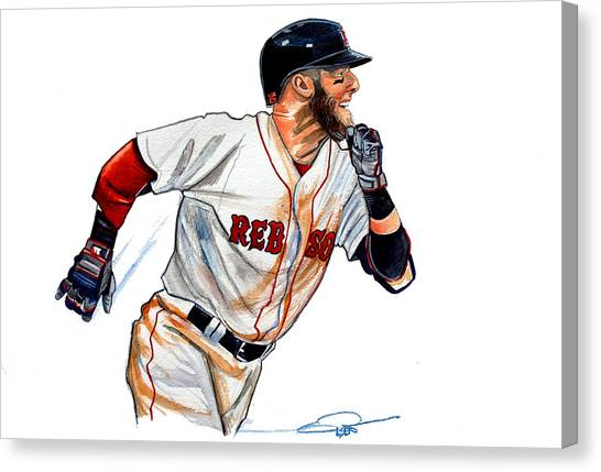 Boston Red Sox Canvas Print - Dustin Pedroia by Dave Olsen
