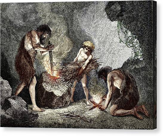 Early Humans Making Fire Canvas Print by Sheila Terry