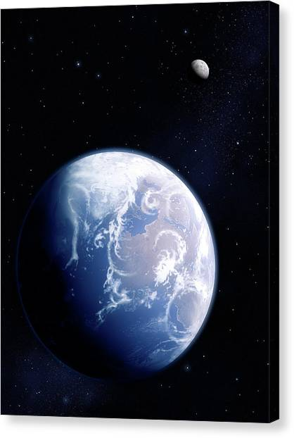 Earth And Moon Canvas Print by Mark Garlick/science Photo Library