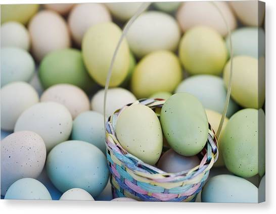 Easter Baskets Canvas Print - Easter Eggs And Basket by Darren Greenwood