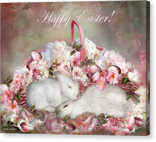 Easter Baskets Canvas Print - Easter Surprise - Bunnies And Roses by Carol Cavalaris