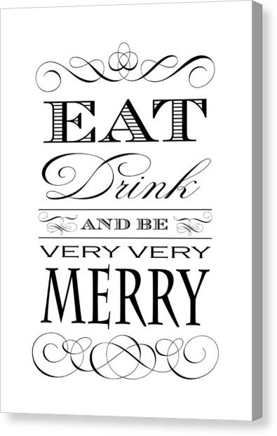 Drinks Canvas Print - Eat Drink And Be Merry by Antique Images