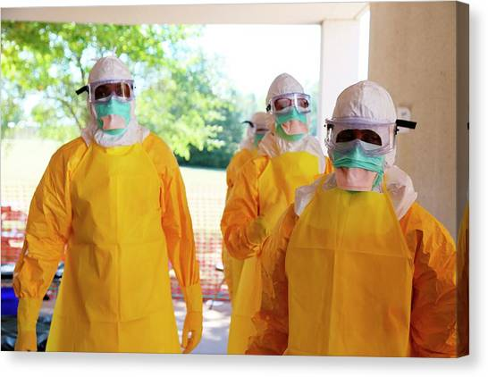 Protective Clothing Canvas Print - Ebola Prevention Training by Cdc/nahid Bhadelia, M.d.