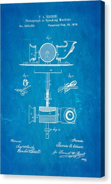 Speakers Canvas Print - Edison Phonograph Patent Art 1878 Blueprint by Ian Monk