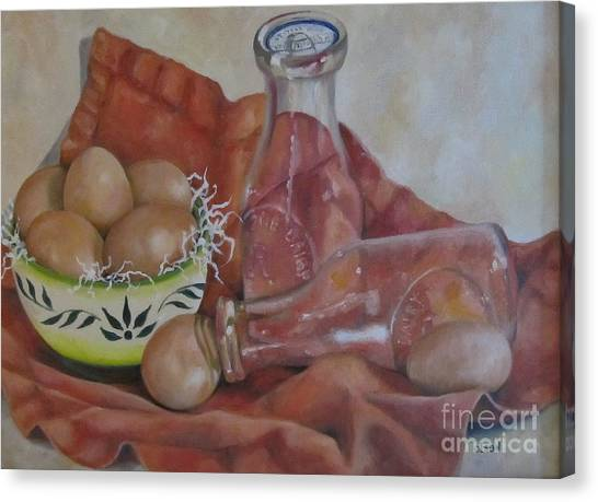 Eggs With Milk Bottles Canvas Print by Karen Olson