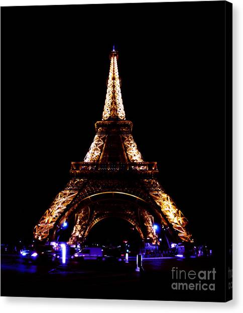 Eiffel Tower At Night Canvas Print by Sandy MacNeil