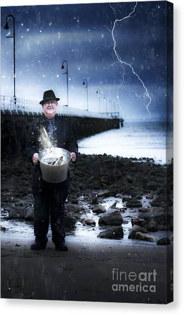 Angler Art Canvas Print - Elderly Fisherman Holding A Bucket Of Fish by Jorgo Photography - Wall Art Gallery