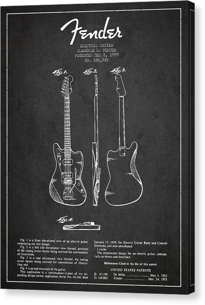 Fender Guitars Canvas Print - Electric Guitar Patent Drawing From 1959 by Aged Pixel
