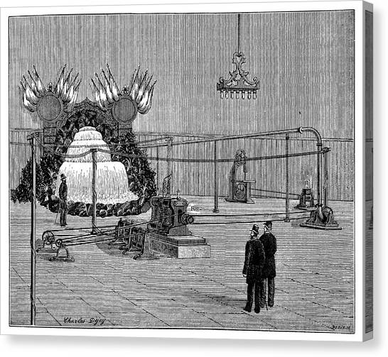1880s Canvas Print - Electricity Transmission Tests by Science Photo Library