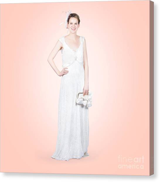 Wedding Gown Canvas Print - Elegant Bride In White Wedding Dress by Jorgo Photography - Wall Art Gallery