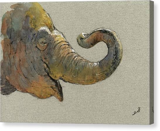 Ivory Canvas Print - Elephant Head by Juan  Bosco