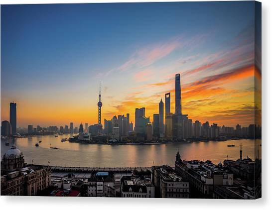 Elevated View Of Shanghai Skyline At Canvas Print by Yongyuan Dai