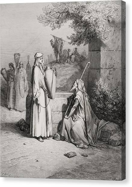 Holy Bible Canvas Print - Eliezer And Rebekah by Gustave Dore