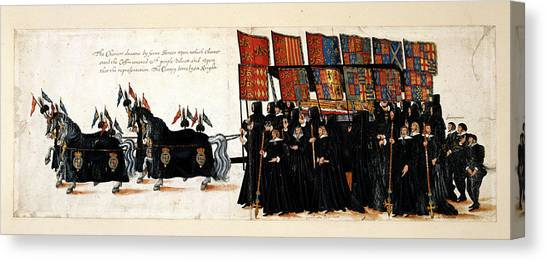 Queen Elizabeth Canvas Print - Elizabeth I's Funeral Procession by British Library