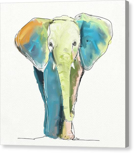 Elephants Canvas Print - Ellie by Cathy Walters