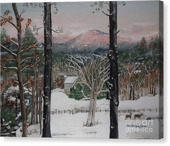 Canvas Print featuring the painting Ellijay - Pink Knob Mountain - Signed by Jan Dappen