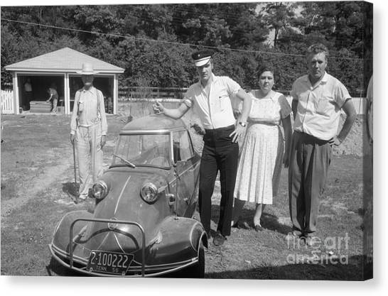 Elvis Canvas Print - Elvis And His Messerschmitt With Vernon And Gladys Presley 1956 by The Harrington Collection