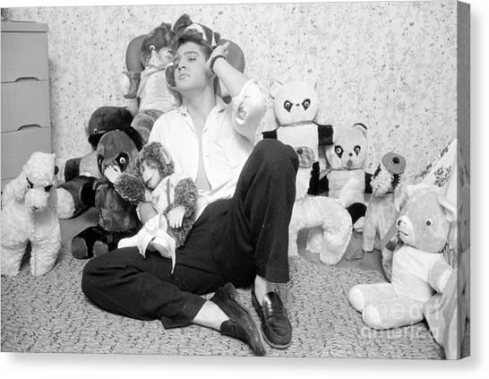 Teddy Bears Canvas Print - Elvis Presley At Home With Teddy Bears 1956 by The Harrington Collection