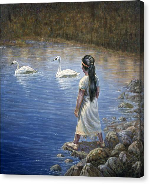 Trumpeters Canvas Print - Enjoying The Trumpeter Swans by Gregory Perillo
