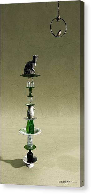 Chickadee Canvas Print - Equilibrium IIi by Cynthia Decker