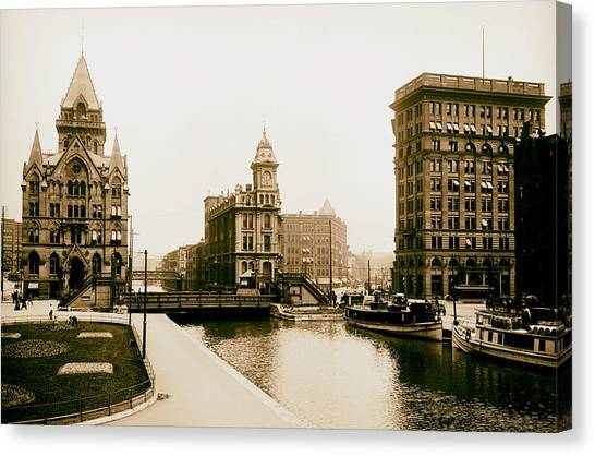 Analog Canvas Print - Erie Canal On Salina Street In Syracuse New York - Circa 1904 by Mountain Dreams
