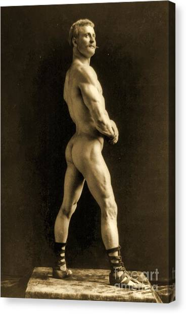 Bodybuilder Canvas Print - Eugen Sandow by Napoleon Sarony
