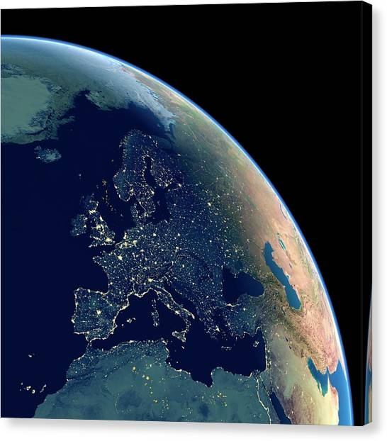 Europe At Night Canvas Print by Planetary Visions Ltd/science Photo Library