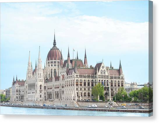Danube Canvas Print - Europe, Hungary, Budapest, Parliament by Jim Engelbrecht