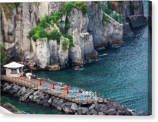 Beach Cliffs Canvas Print - Europe, Italy, Sorrento, Amalfi Coast by Terry Eggers