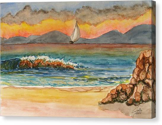 Evening In Beach Canvas Print by Fethi Canbaz