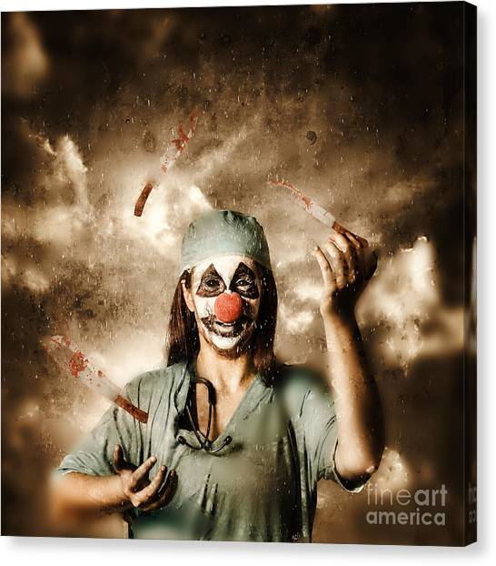 Clown Art Canvas Print - Evil Surgeon Clown Juggling Bloody Knives Outside by Jorgo Photography - Wall Art Gallery