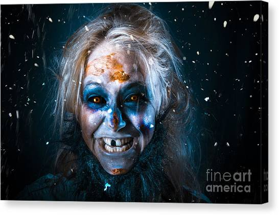 Yeti Canvas Print - Evil Winter Monster Smiling Beneath Falling Snow by Jorgo Photography - Wall Art Gallery