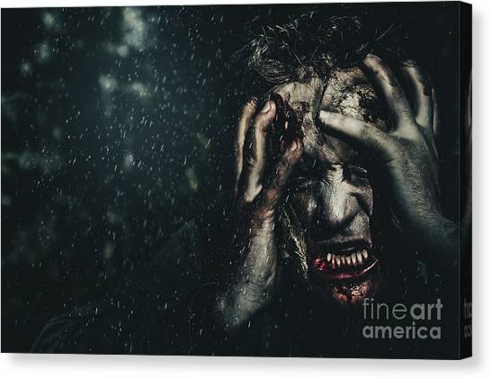 Outbreak Canvas Print - Evil Zombie Man In Fear At Dark Haunted Forest by Jorgo Photography - Wall Art Gallery