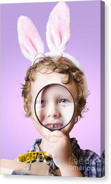 Scouting Canvas Print - Face Of A Cute Kid On A Easter Hunt For Chocolate by Jorgo Photography - Wall Art Gallery