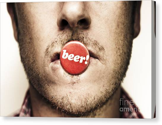 Beer Canvas Print - Face Of A Man With Beer Badge by Jorgo Photography - Wall Art Gallery