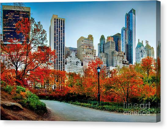 New York Skyline Canvas Print - Fall In Central Park by Az Jackson