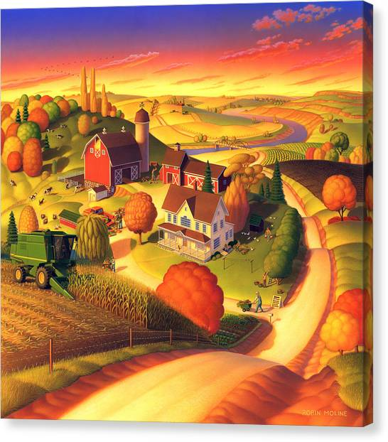 Corn Canvas Print - Fall On The Farm  by Robin Moline