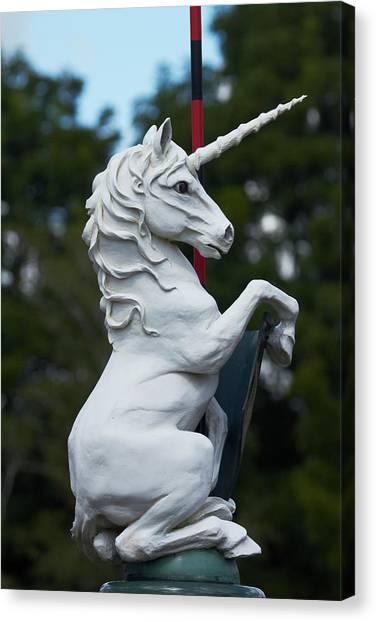 Unicorns Canvas Print - Fantasy Beast At Tudor Gardens by David Wall