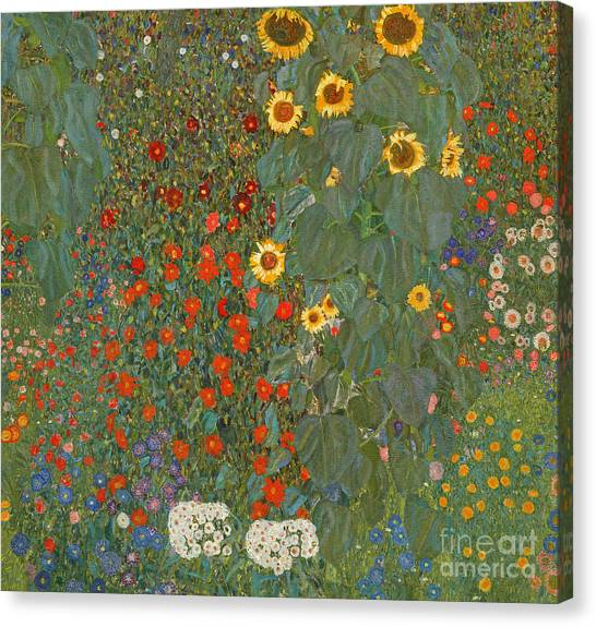 Sunflowers Canvas Print - Farm Garden With Sunflowers by Gustav Klimt