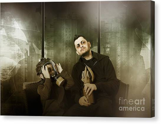 Prophetic Art Canvas Print - Father And Son In Gasmask. Nuclear Terror Attack by Jorgo Photography - Wall Art Gallery