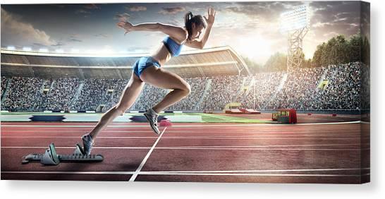 Female Athlete Sprinting Canvas Print by Dmytro Aksonov